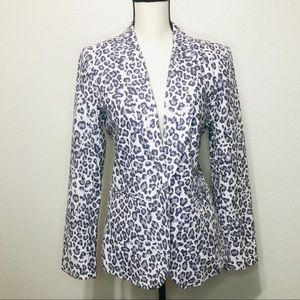 NWOT Rachel Zoe Linen Blend Leopard Blazer
